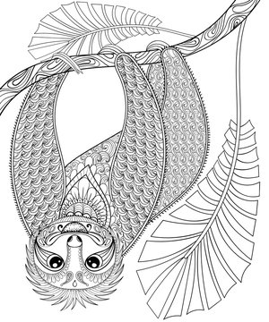 Vector zentangle three-toed sloth climbing on a branch, print fo