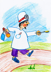 Doctor brings the spoon with a drug, ambulance concept - child drawing picture on paper
