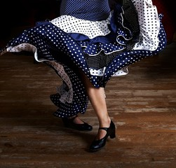 Legs of a woman flamenco dancing in traditional clothing