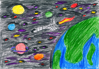 spaceship flies in an earth orbit - child drawing picture on paper