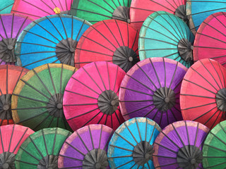 Multi-colored parasols in market, Luang Prabang, Laos