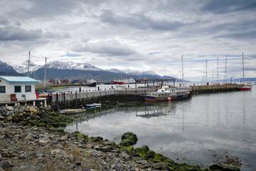 Boats moored in the harbor, Ushuaia, Tierra del Fuego, Argentina