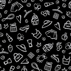 Vector seamless pattern with hand drawn romantic symbols on black color