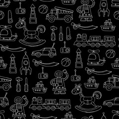 Vector seamless pattern with hand drawn toys for boys on black color