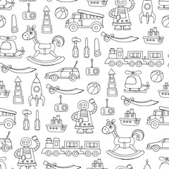 Vector seamless pattern with hand drawn toys for boys on white color
