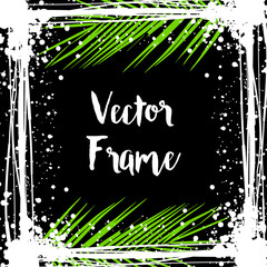 Black ink photo frame with tropical leaves