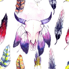 Watercolor stylized pattern with feathers and buffalo head
