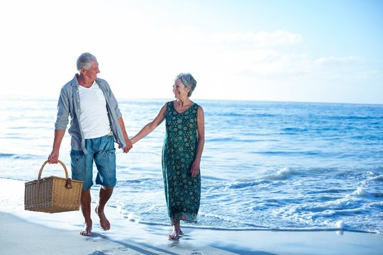 Senior couple holding a picnic basket