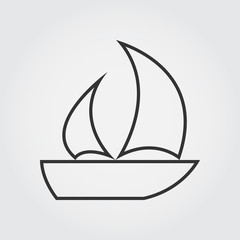 Sailboat icon, thin line icon