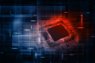 Digital illustration of Electronic integrated circuit chip