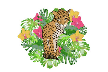 Print exotic flower orchid and jaguar.