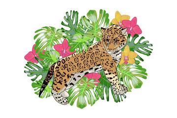 Print exotic flower orchid and jaguar.