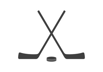 Hockey sticks and puck grey minimal logo design