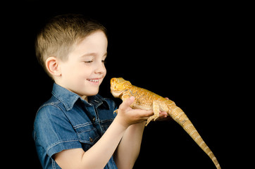 little boy and dragon