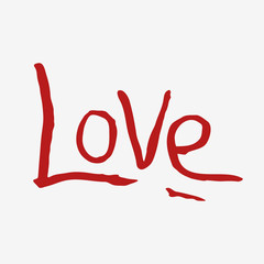 Red love hand letters on white background. Valentines day card. Vector illustration.