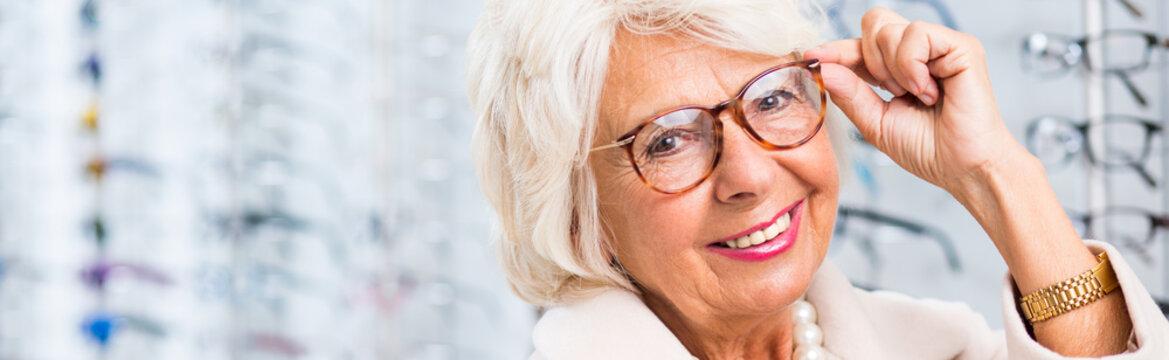 Woman in eyewear store