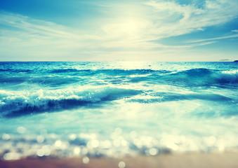 Fototapete - beach in sunset time, tilt shift effect