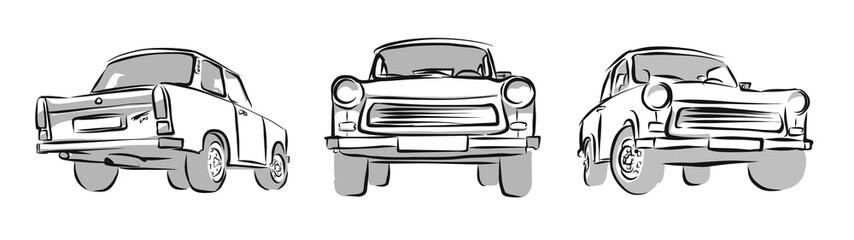 Old East german Car, Three Views. Vector Sketch