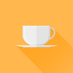 White cup of coffee or tea flat icon with long shadow on orange background. Vector illustration.