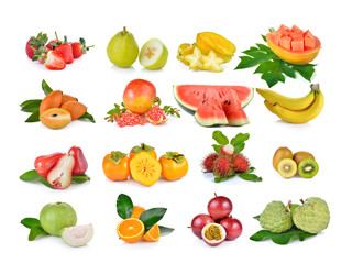 callection of fruits on white background