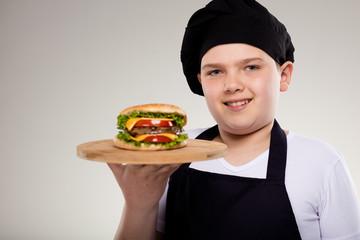 Chef boy and Hamburger
