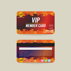 Front And Back VIP Member Card Template Vector Illustration.