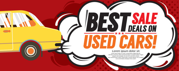 Used Car Best Sale Deal 6250x2500 pixel Banner Vector Illustration.