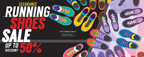 Running Shoes Sale 6250x2500 pixel Banner Vector Illustration.