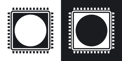 Chip icon, vector. Two-tone version on black and white backgroun