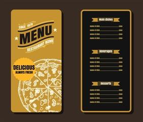Restaurant Fast Foods menu on gold background vector format eps1
