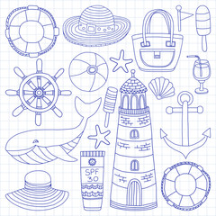 Big set with doodle images about beach fashion and travel