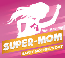 Super Mom Poster for Mother's Day Celebration, Vector Illustration