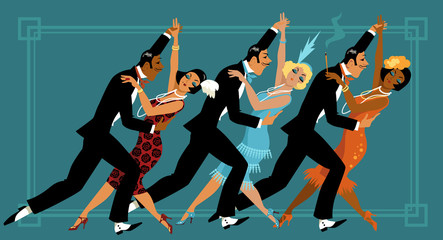Wall Mural - Group of people dressed in retro fashion dancing, EPS 8 vector illustration