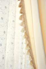 yellow silk and lace curtain
