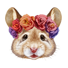 Portrait of Mouse with floral head wreath. Hand-drawn illustration, digitally colored.