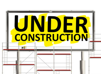 Under construction. Road sign on the white background. Raster illustration.