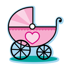 Pink baby girl carriage buggy