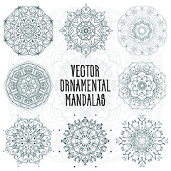 Set of ornamental mandalas. Circular patterns made in a vector. They can be used for various purposes in the design, decor, holiday greetings, invitations, Indian and Arabic ornaments, and yoga.