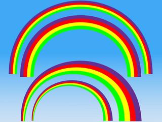 A Set of Editable Vector Rainbow Shapes Illustration