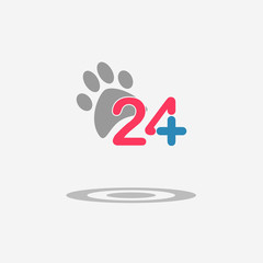Twenty four available medical help icon. Veterinary. Flat trendy modern vector illustration