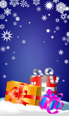 present boxes red, blue, yellow color on blue background with snowflacke