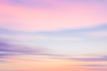 Defocused sunset sky  with blurred panning motion