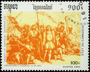 Landing of Christopher Columbus in Guanahani (West-Indies) on Oc