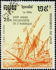 Sailing ship Nina, 1st expedition of Christopher Columbus (1492)