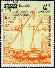 Sailing ship Pinta, 1st expedition of Christopher Columbus (1492