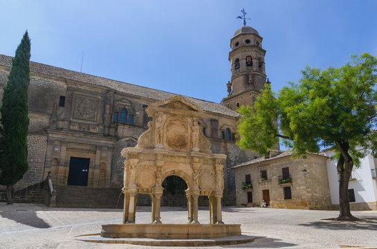 Cathedral and fountain in baeza