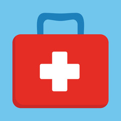 First aid kit box flat vector object