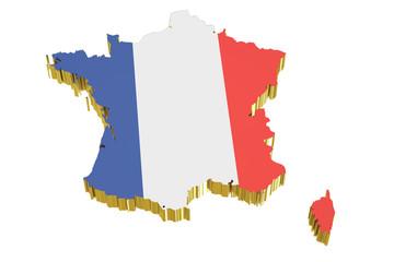 France map, 3D rendering