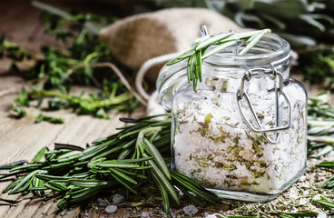 Printed roller blinds Spices Sea salt with dried rosemary in a glass jar, vintage wooden back
