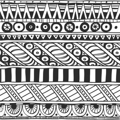 Seamless ornament in ethnic style black and white